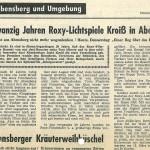 """Artikel """"20 Jahre Roxy-Kino"""""""