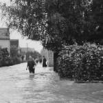 Blick in die überflutete Jahnstraße